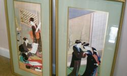 Two Oriental Wall Paintings - Framed by Cove Gallery Size: 17 X 31 - $150 Each