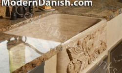 Athens Travertine Beige Single Bowl Farm Sink Measurements - 33 in Length - 19 in Width - 9 in Height Top Edge of our Farm Sinks are all FLAT edged. Our travertine sinks are lightly sealed with several coats of standard stone sink sealer. Your contractor