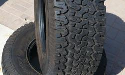 BF Goodrich All-Terrain T/A KO tires. Size LT315/70 R 17. Tires are five years old but were only driven for the first year. They have been on a Chevy Silverado 1500 that was kept in the garage while my son was in the Marine Corps. There