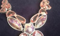 Beautiful bib statement necklaces. 925 Stirling Silver gemstones.