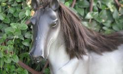 ~*This is a Really Nice Big horse Made By Battat . . It is very played with and scuffed up. It has nice hair mane Perfect for your little Horse Lover.. Or American Girls Doll Horse. It measures about 17 inches long and 20 inches tall and a little