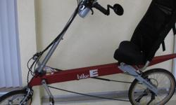 Recumbent E-Bike in excellent condition. Red with computer, front & rear light, large seat bag, water bottle, mirror. Great for people with low back problems who don't want to give up riding.