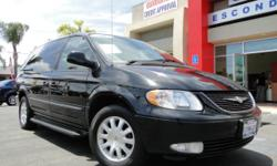 Loaded black Chrysler Town and Country minivan! This van has everything your family could want! Fuel-efficient v6 engine, 7 seats, roof racks, running boards, tinted windows, power windows, power locks, power steering, automatic, air conditioning, dual