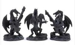 Description Coming soon to a stage near you; three scaly rock stars who know how to put on a serious jam! Eerie dragon musicians create a startling show that any metal music lover will display with pride. Specification Weight 0.8 lb. Polyresin. Each is
