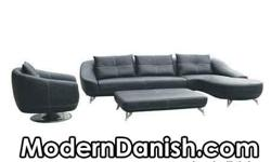 Arhus Sofa Lounge Set with Ottoman and Large Oversized Side Lounge BLACK Leather Top Grade Finest Quality Modern Danish Furniture Design LEATHER BLACK ITALIAN Dimensions: SIDE CHAIR: - 36 in Wide - 38 in Deep - 30 in High SOFA / ASSEMBLED AS PICTURED: -