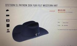 Selling a Black Stetson Cowboy hat. Its brand new, never been worn. Still in its original box. Size is 6 1/2. I am asking for $300, store price is $520. If anyone is interested please contact me asap! Local pick up only!