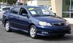 Midnight blue 2006 Corolla S Sport for a low price! 75,xxx miles, gas-saving 4 cylinder engine, over 30mpg's, AM/FM & CD, A/C and heat, power windows, power locks, rear spoiler, power moonroof, cruise control, and more! Don't miss out on getting a