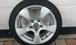 """Four 17"""" bmw 321i Coupe tires(225/45 R17)and 5 spoke rims with silver finish for sale. Tires are 17"""" Continental Conti SportContact 2 SSR tires. Barely used for 2 monthsand look new. Asking $500. I will only sell locally in the Orlando area, not"""