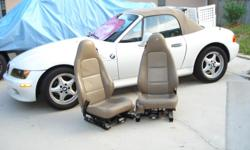 Nice seats, leather beige color, includes electronic seat system, works very well....came out of Z 3.