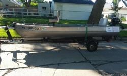 Up for sale is our rarely used 14 foot alumacraft boat. The boat includes a newer 5 hp briggs and stratton motor, both oars, 2 anchors, ropes and the trailer.. . Mounted swivel seats are super comfortable for fishing. Boat seats are carpeted for
