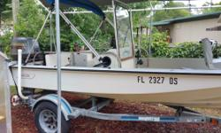 """1980 Boston Whaler 15'3"""" 65hp Suzuki oil injection motor. Less than 75 running hrs. Saltwater trolling motor. New battery and Bimini top. Nice trailer and accessories."""
