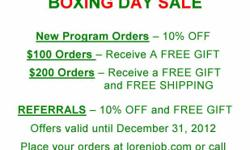 Feeling sluggish after the holiday festivities? Want to start on your healthy life today? Want to lose those few pounds? Huge Boxing Day sale starts today ? Program discounts, free gifts & shipping available. Call -- or -- (toll-free) or check out