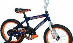 Huffy Boy's Pro Thunder Bike (Blue Ribbon/Trophy Silver, Medium/16-Inch) Features include steel diamond frame, rear coaster brake. Handlebar is padded. Includes sturdy training wheels. Seat is padded with graphics. Color is Blue Ribbon/Trophy Silver.