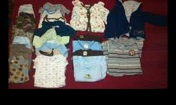 Boy?s Baby Clothes 6 Months ? Good Condition $10.00 OBO  Clothes are by Carter?s, Gerber, Absorba, Vitamins Baby, and Koala Baby Included as pictured (left to right):  7 Pants 8 Onesies 4 Shirts 1 One piece outfit (Grey Striped) 1 Navy