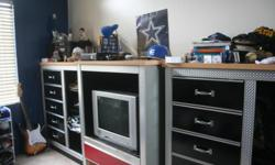 3 piece boys furniture set all for a low price of $95.00, Matching desk also available for $50.00 includes book case
