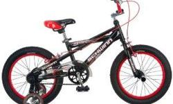 Schwinn Boy's Scorch Bicycle A great choice for teaching your youngster to ride a bike, the BMX-style 16-inch Scorcher bike from Schwinn features a grown-up look that's great for showing off around the neighborhood. It's outfitted