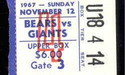 Coach George Halas records win #321 (of his career 324) in a 34-7 drubbing of the NYG. Nov 12, 1967. Piccolo has 6 rushing attempts for 45 yards and this is his 3rd highest avg per carry for his career& this also ties him for his 5th highest rushing yards