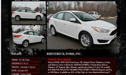 Ford Focus SE 4dr Sedan Automatic 6-Speed Oxford White 1 I4 2.0L I42015 Sedan RHINEBECK FORD, INC. 845-876-4440
