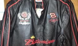 Brand new black Leather Dale Earnhardt Jr. jacket, size L/XL. Great gift for racing fan! Must see to appreciate!