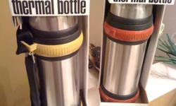 Brand New Stainless Steel Thermos w/cup Purchased from Macy?s. Original packaging and $29.99 price is on the package. Is in a smoke and pet free home. Selling for only $15.00ea. Will drop the price to $12.00ea if purchased between now and 8.31.2011. I