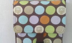 """* Handmade * 10"""" H x 8"""" W x 2"""" D * Owls and polka dots exterior * 1 - 42"""" strap * 1 Parachute Buckle flap closure * 1 inside pocket ** THIS IS NOT A LICENSED PRODUCT. ** THE HANDLES AND INSIDE"""