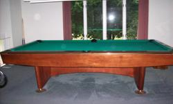 Professional 9 foot pool table. 24 years old and has never been exposed to smoke. In great condition~ The overhead light, bridge, balls, rack, grey cover all included. Asking price is negotiable.