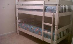 Solid oak wood twin over twin white bunk bed set new in factory boxes for $195.00 free delivery within reason. Call or text me at 678 979 7046