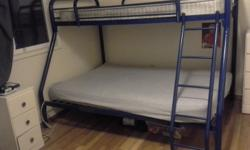 BLUE STEEL BUNK BEDS, EXCELLENT CONDITION WITH MATTRESSES.