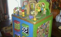Alphabet letters and pictures that flip, Zigzag paths to race up and down, animal pictures to match up, doors that open to reveal animal inside and a ring of loops for balls to travel back and forth. This toy is great for dexterity. It is a