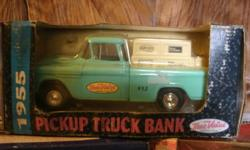 A 1955 Pick up truck bank, a 1996 limited edition collectable truck and john deere racing champion car. Asking 20 each call --