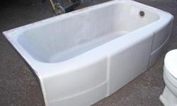 """We have a cast iron, not claw feet, gray bathtub for sale. It measures 60"""" by 32"""" and has a right drain. Asking $135.00 CASH ONLY, you pick up. We also have 2 gray sinks, measuring 21"""" wide, 18"""" deep (front to back) and 12 inches between faucets. We are"""
