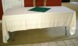 """Catering items: Tablecloths: 60"""" round ivory color, linen & rayon - total 16 - $7.00 each Tablecloths: 104-120"""" ivory color, linen & rayon - total 13 - $10 each Large Linen Napkins - 18X18 - Forest Green - 20 & Cream color - 19 - Price $.75 each Anchor"""