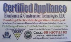 We are a technically skilled, factory certified and insured diagnostic and repair company for homeowners, real estate investors and businesses. We specialize in appliances, electric and gas, plumbing drain Clean-outs, remodeling, heating appliances,