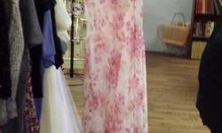 CHIFFON FLORAL FULL LENGTH DRESS WITH SLANT SKIRT AND DELICATELY BEADED SHOULDER STRAPS/WITH MATCHING SCARF. Perfect for Easter