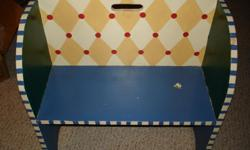 Child's size handpainted bench. $75.00 CASH ONLY If interested, call (940) 691-1172