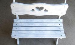 """The shabby white child's bench is sold pine wood measuring 24"""" x 11 12/"""" x 23"""" tall for $15 FIRM. Smoke-free home. 2 old vintage mahogany side tables that have been distressed in a whitewash shabby chic French country finish. Very nice tables that"""