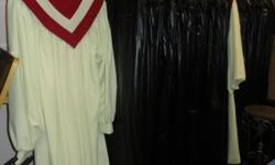 Church choir uniform robes, mixed sizes, in perfect condition. Each robe comes with protective cover. The red/white top is detachable. We have 73 total. Contact for the price. If interested, please email or call 253 six three two 5355.