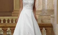 Classics By Eden sample white wedding dress ven #8034, retails $689.00, sale for $90.00/obo. This sample dress has been tried on but never worm at a wedding. Floral Embroidered Strapless Wedding Dress w/ cathedral train (includes extra straps and