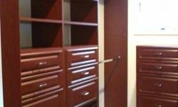I CAN DESIGN AND INSTALL YOUR CLOSET THROUGHOUT YOUR HOME: WALK-IN AND REACH-IN CLOSET; DOUBLE HANGING, SHELVES, SINGLE HANGING, HAMPER, DRAWERS, ETC.TOP QUALITY MATERIAL AND WORKMANSHIP, 3/4 THICK LAMINATED MELAMINE FINISHED. VERY AFFORDABLE