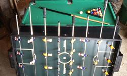 """Unique toy:pool table 4' 6"""" -cue stick, ball rack, flip over and it's a foos-ball table Excellent conditions weighs approximately 65 lbs. disassembled easily Call --"""