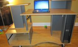 Here i am selling a used space saving desk Great for puting many things in one space and it is very compact so it can fit in small room desk has wheels so it moves around or you can remove them. the tall thing on the left of the cpu rotates, making it