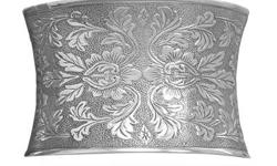 44mm concave oxidized sterling silver cuff bracelet with ornate floral design., .925 Sterling Silver, Style no. CFCB-28143