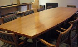 table is about 10' long, 4' wide. comes with 10 chairs. table and chairs are made of solid wood, made in the late 50's early 60's. chairs recovered about 10 years ago. Designed by Jens Rimson, a dansih furniture designer. pick up only, flower st.