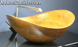 """Ultra Contemporary 100% Solid Bamboo Bathroom Vessel Sink - Natural finish with only clear coat sealer applied. Outside Dimensions: 19.5"""" Wide x 17.75"""" Deep x 8"""" High SKU: BB- 023 Natural High Oval Bamboo Sink Enter coupon code CLASSIFIED1 at check out to"""