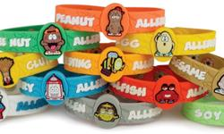 Allergy Wristbands are bright and colorful and designed to be noticed. They come with three adjustable snaps and should fit most kids from the age of 2 and up. As always our products are hypo-allergenic (latex-free), waterproof and thoroughly