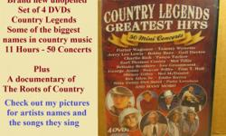 A brand new 4 disc set of Country Legends Greatest Hits. I have a set which I watch. They have good video and sound. Check out my pictures for all the information. There?s 11 hours of good country entertainment. I?ll sell the set for