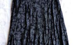Originally $60. +/- Black print, rayon, pleated skirt. Size 8 Will negotiate.