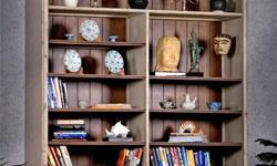 """What a show stopping bookcase. Done in solid mahogany wood this bookcase will gladly house all your books or knick knacks. There are 4 drawers at the bottom for extra storage. Dim: 75""""W x 22""""D x 98""""H Interior Lighting, 2 Permanent Shelves, 8 Adjustable"""