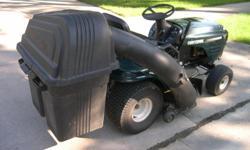 Craftsman Garden Tractor, 16HP Briggs & Stratton engine, 6 forward speeds + reverse, 42inch mower deck, grass bagger, always kept inside garage, very good -> excellent condition; not needed any longer