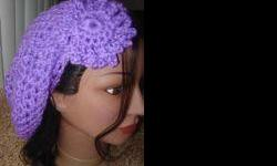 Handmade with love and crochet :) Crochet Neon Purple Fishnet Beret w/Flower Color: - Neon Purple-available in any color(custom order) Flower: Neon Purple- available in any color(custom order) Crochet Made to order,shipped the next day. These hats are